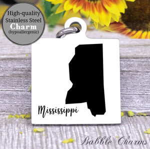 Mississippi charm, Mississippi, state, state charm, high quality..Perfect for DIY projects