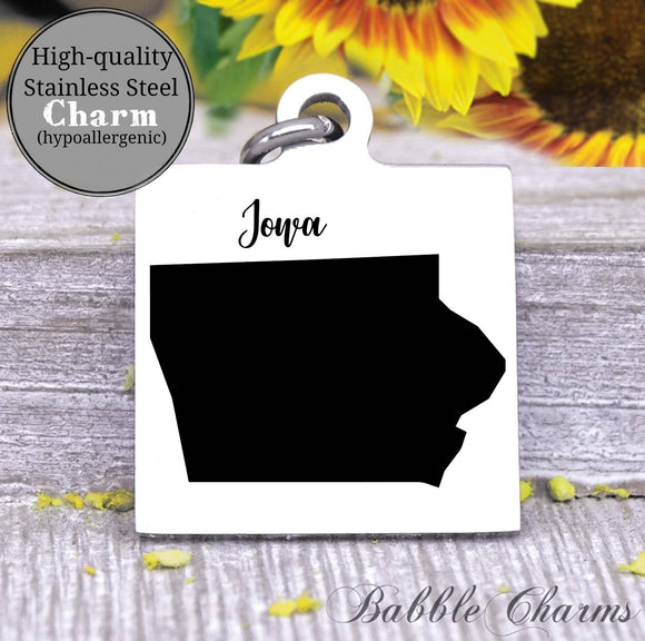 Iowa, Iowa charm, state, state charm, high quality..Perfect for DIY projects