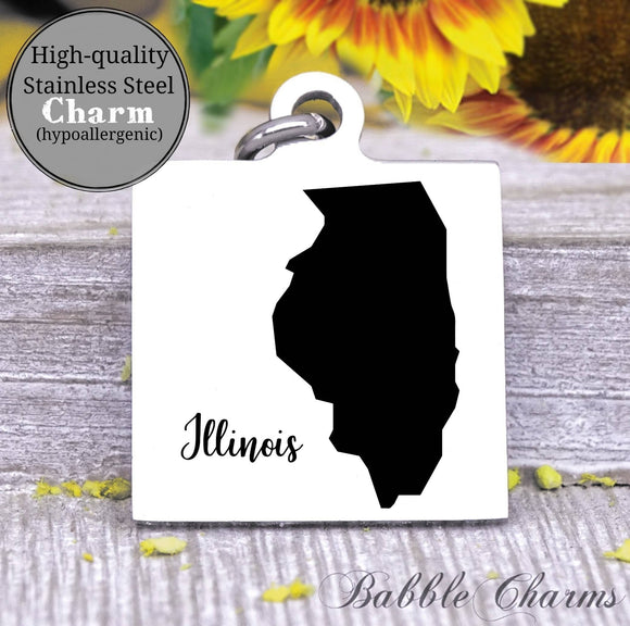 Illinois charm, Illinois, state, state charm, high quality..Perfect for DIY projects
