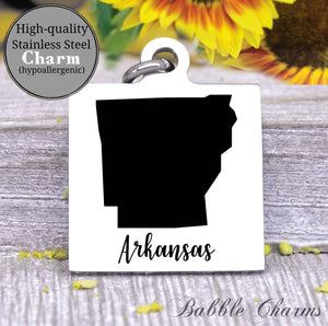 Arkansas charm, Arkansas, state, state charm, high quality..Perfect for DIY projects