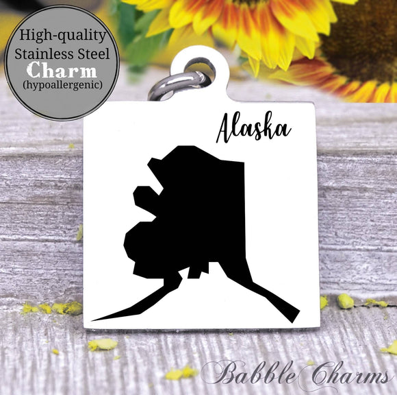 Alaska charm, Alaska, state, state charm, high quality..Perfect for DIY projects