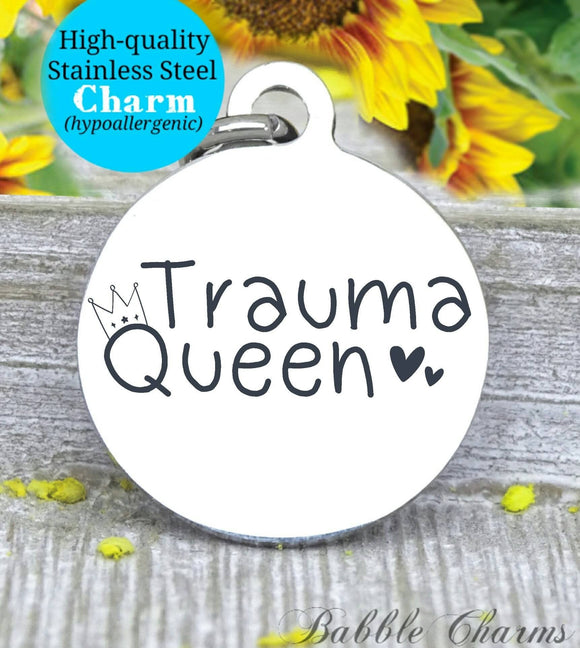 Trauma queen, nurse charm, nurse, nurse charms, Steel charm 20mm very high quality..Perfect for DIY projects