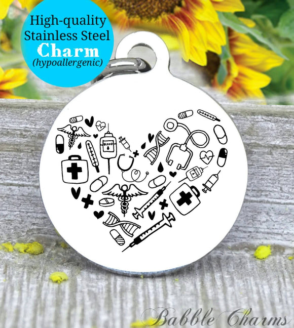 Nurse heart, nurse charm, nurse, nurse charms, Steel charm 20mm very high quality..Perfect for DIY projects