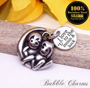 I love U to the moon and back, stainless steel charm, best buds charm, friends charm, bff charm, Charms, wholesale charm, alloy charm