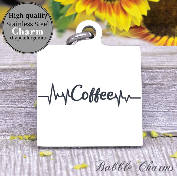 Coffee heartbeat, coffee, coffee charm, charm, Steel charm 20mm very high quality..Perfect for DIY projects