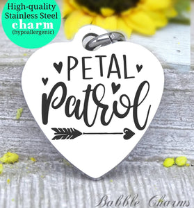 Petal patrol, flower girl, petal  charm, bridal charm, wedding party, Steel charm 20mm very high quality..Perfect for DIY projects