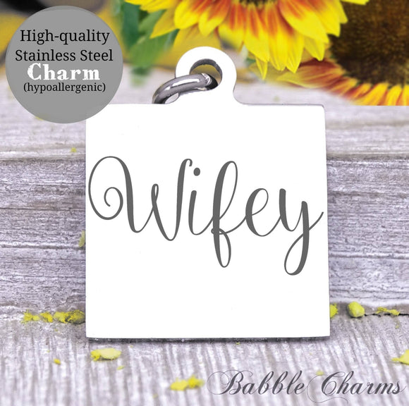 Wifey charm, Mrs, newlywed, new wife, Steel charm 20mm very high quality..Perfect for DIY projects