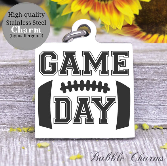 Game day, sports, I love game day, game day charm, Steel charm 20mm very high quality..Perfect for DIY projects