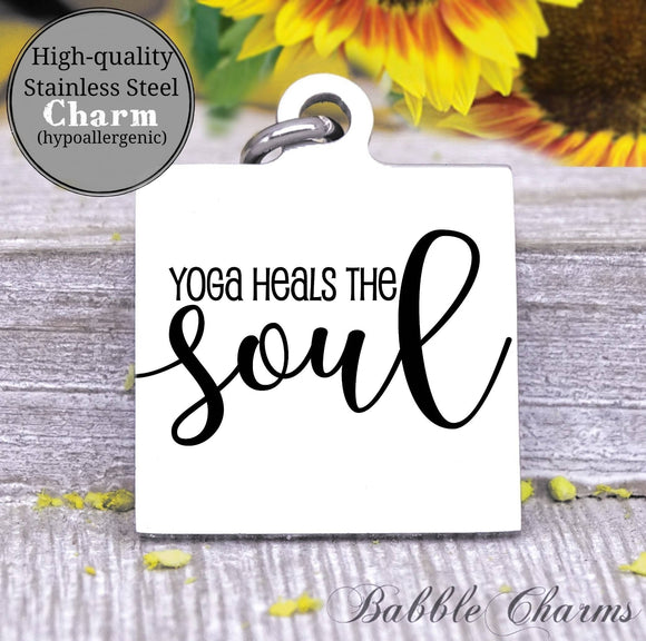 Yoga heals the soul charm, yoga, do more yoga charm, Steel charm 20mm very high quality..Perfect for DIY projects