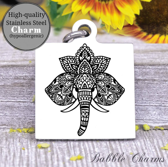 Elephant charm, yoga, do more yoga charm, Steel charm 20mm very high quality..Perfect for DIY projects