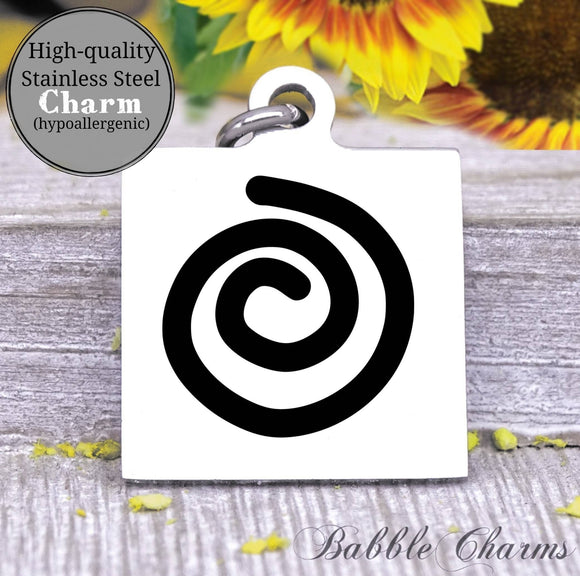 Spiral, spiral of life charm, yoga, do more yoga charm, Steel charm 20mm very high quality..Perfect for DIY projects