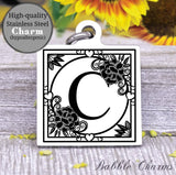 Alphabet charm, Letter C, Alphabet, initial charm, Steel charm 20mm very high quality..Perfect for DIY projects