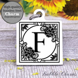 Alphabet charm, Letter F, Alphabet, initial charm, Steel charm 20mm very high quality..Perfect for DIY projects