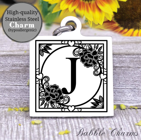 Alphabet charm, Letter J, Alphabet, initial charm, Steel charm 20mm very high quality..Perfect for DIY projects