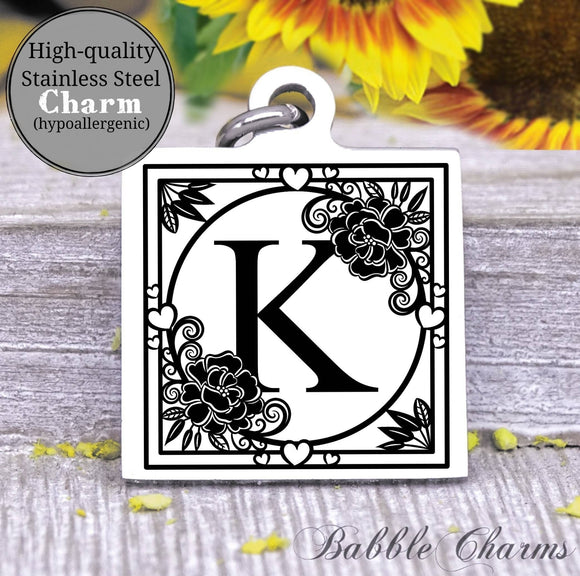 Alphabet charm, Letter K, Alphabet, initial charm, Steel charm 20mm very high quality..Perfect for DIY projects
