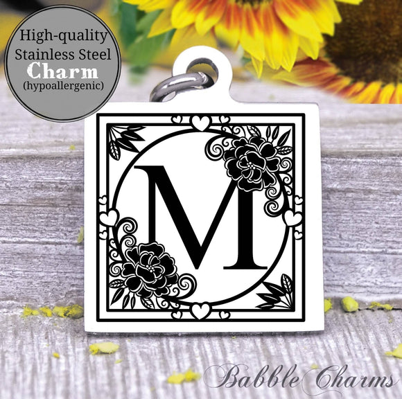 Alphabet charm, Letter M, Alphabet, initial charm, Steel charm 20mm very high quality..Perfect for DIY projects