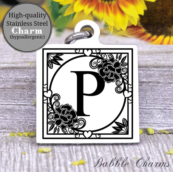 Alphabet charm, Letter P, Alphabet, initial charm, Steel charm 20mm very high quality..Perfect for DIY projects