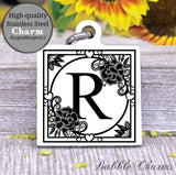 Alphabet charm, Letter R, Alphabet, initial charm, Steel charm 20mm very high quality..Perfect for DIY projects