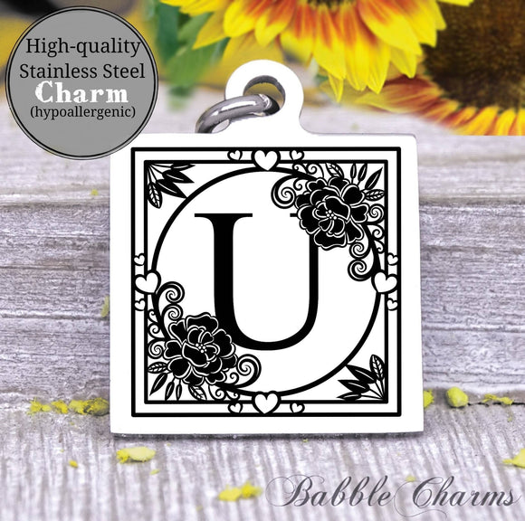 Alphabet charm, Letter U, Alphabet, initial charm, Steel charm 20mm very high quality..Perfect for DIY projects