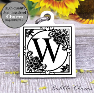 Alphabet charm, Letter W, Alphabet, initial charm, Steel charm 20mm very high quality..Perfect for DIY projects