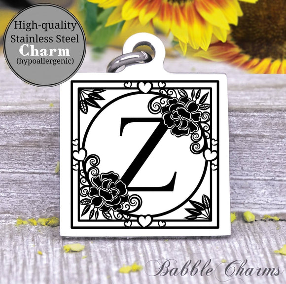 Alphabet charm, Letter Z, Alphabet, initial charm, Steel charm 20mm very high quality..Perfect for DIY projects