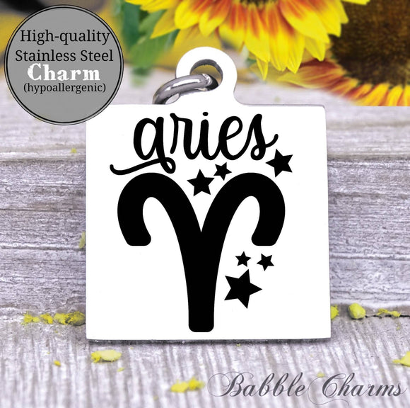 Aries, aries charm, sign, zodiac, astrology charm, Steel charm 20mm very high quality..Perfect for DIY projects