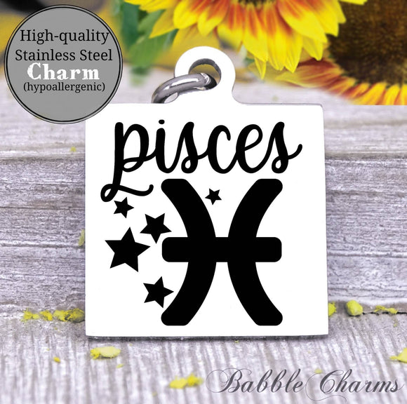 Pisces, pisces charm, sign, zodiac, astrology charm, Steel charm 20mm very high quality..Perfect for DIY projects