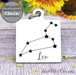 Leo, Leo charm, sign, zodiac, astrology charm, Steel charm 20mm very high quality..Perfect for DIY projects