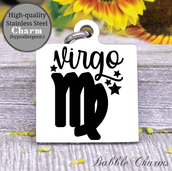 Virgo, virgo charm, sign, zodiac, astrology charm, Steel charm 20mm very high quality..Perfect for DIY projects
