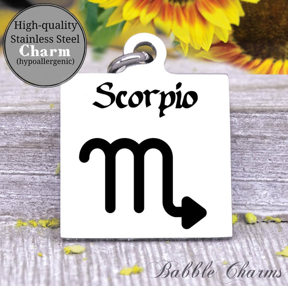 Scorpio, scorpio charm, sign, zodiac, astrology charm, Steel charm 20mm very high quality..Perfect for DIY projects