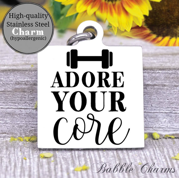 Adore your core, score your core, workout, workout charm, Steel charm 20mm very high quality..Perfect for DIY projects