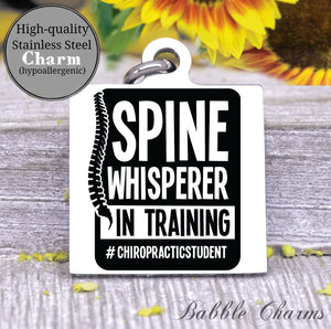 Spine whispered in training, spine, chiropractor charm, Steel charm 20mm very high quality..Perfect for DIY projects