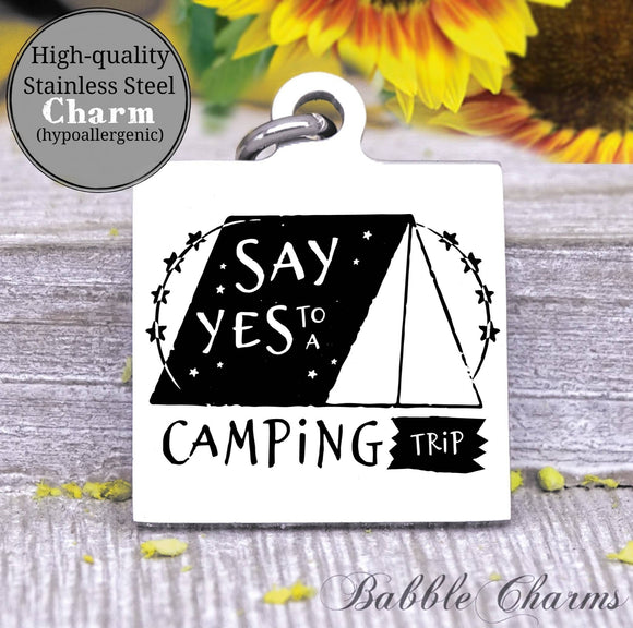 Camping trip, camping charm, adventure charm, explore charm, Steel charm 20mm very high quality..Perfect for DIY projects