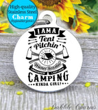 I am a camping girl,going, camp charm, Steel charm 20mm very high quality..Perfect for DIY projects