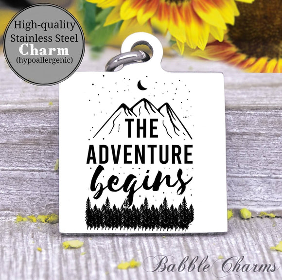 The adventure begins, new adventures, adventure charm, Steel charm 20mm very high quality..Perfect for DIY projects