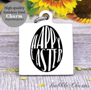 Happy easter, easter egg, easter charm, Steel charm 20mm very high quality..Perfect for DIY projects
