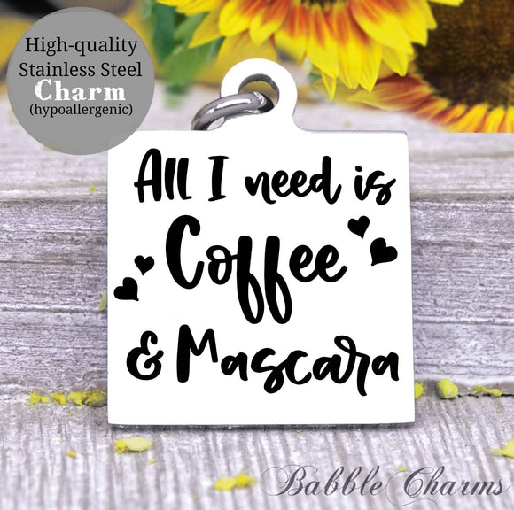 Coffee and mascara, coffee, mascara, coffee charm, Steel charm 20mm very high quality..Perfect for DIY projects