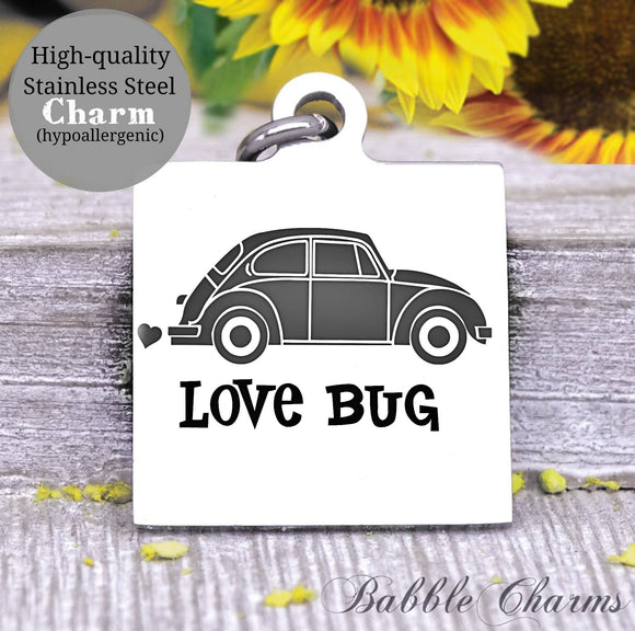 Love bug, bug, bug car, car charm, Steel charm 20mm very high quality..Perfect for DIY projects