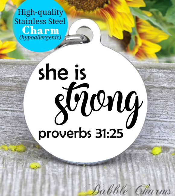 She is strong, strong in god, God, God charm, Jesus charm, Steel charm 20mm very high quality..Perfect for DIY projects