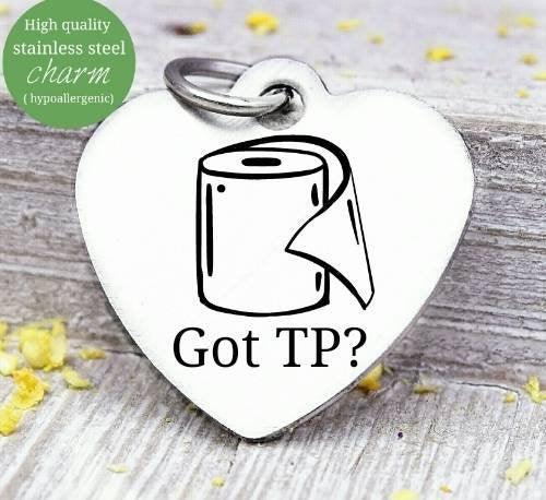 Got TP, tp, tp charm, toilet paper, toilet paper charm, Steel charm 20mm very high quality..Perfect for DIY projects