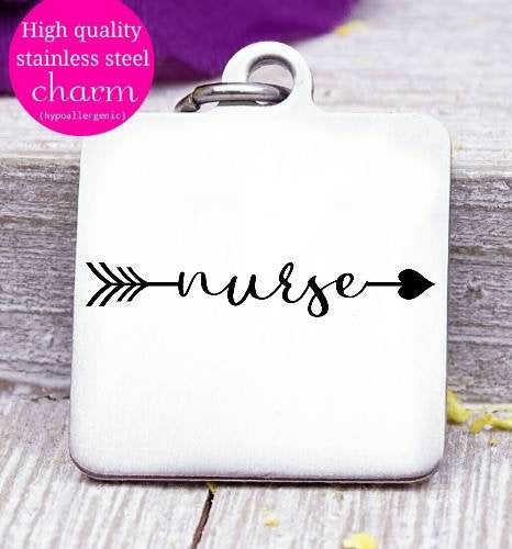 Nurse, nurse heartbeat, nurse, nurse charm, Steel charm 20mm very high quality..Perfect for DIY projects