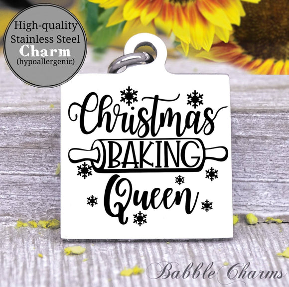 Christmas baking queen, baking queen, baking charm, Steel charm 20mm very high quality..Perfect for DIY projects