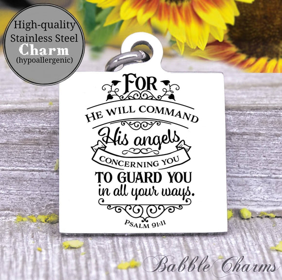God sends his angels, guardian angel, god charm, Steel charm 20mm very high quality..Perfect for DIY projects