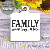 Family, family charm,live laugh love charm, Steel charm 20mm very high quality..Perfect for DIY projects