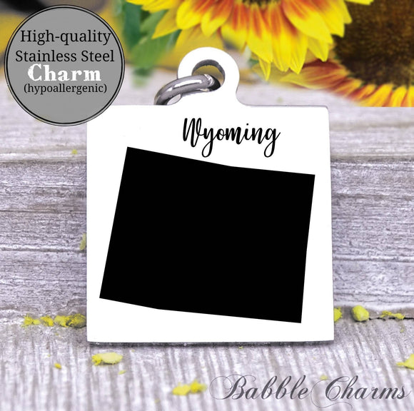Wyoming charm, Wyoming, state, state charm, high quality..Perfect for DIY projects