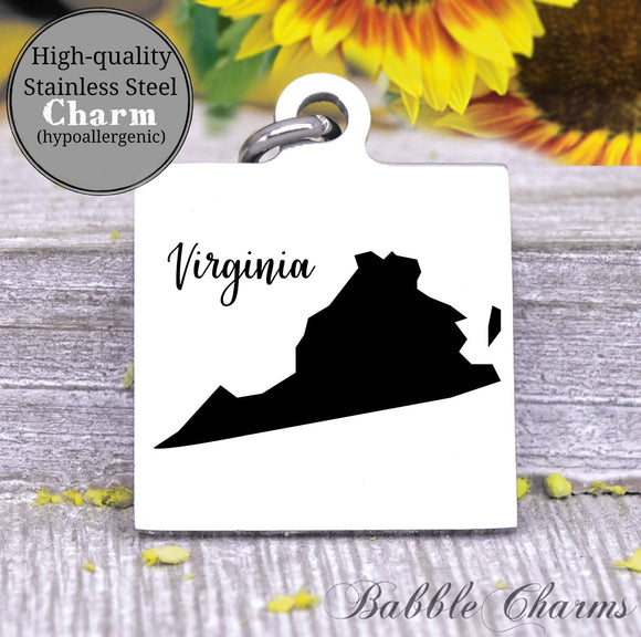 Virginia charm, Virginia, state, state charm, high quality..Perfect for DIY projects