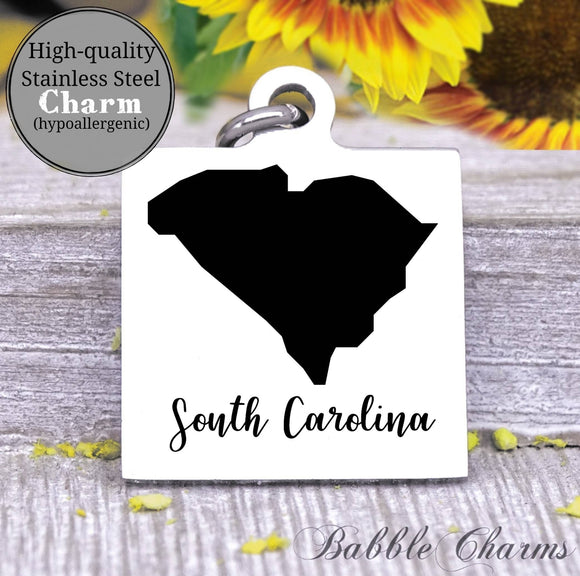 South Carolina charm, South Carolina, state, state charm, high quality..Perfect for DIY projects