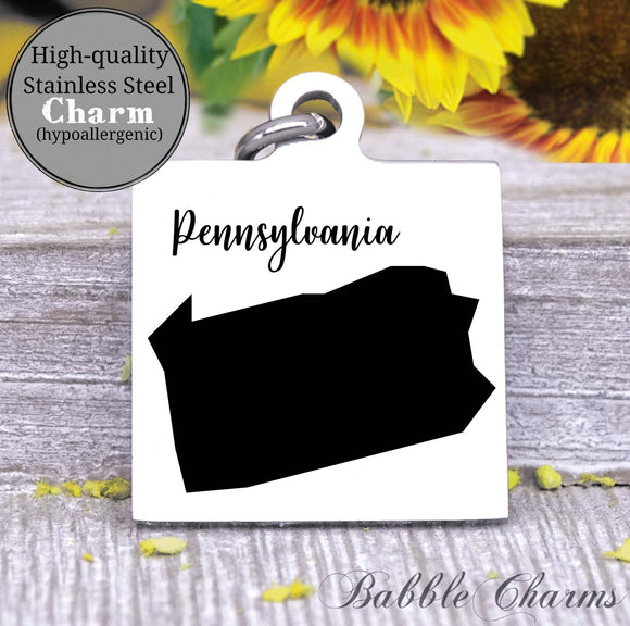 Pennsylvania charm, Pennsylvania, state, state charm, high quality..Perfect for DIY projects
