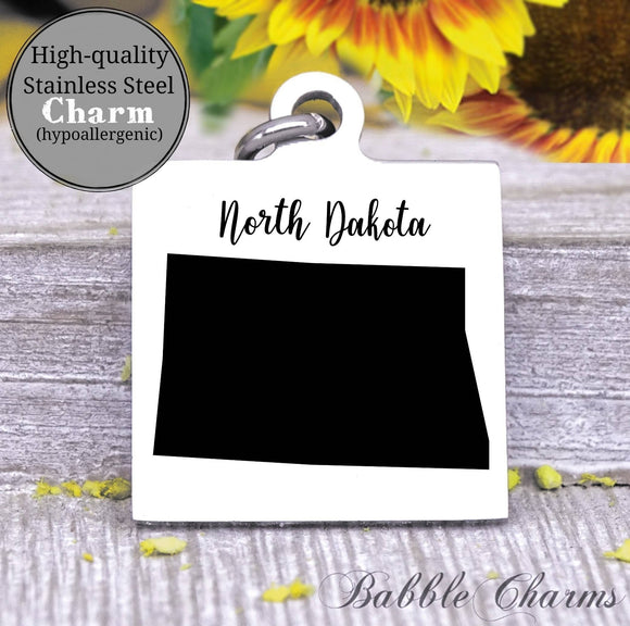 North Dakota charm, North Dakota, state, state charm, high quality..Perfect for DIY projects
