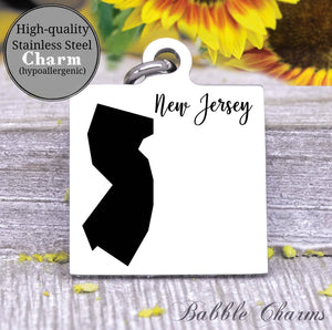 New Jersey charm, New Jersey, state, state charm, high quality..Perfect for DIY projects